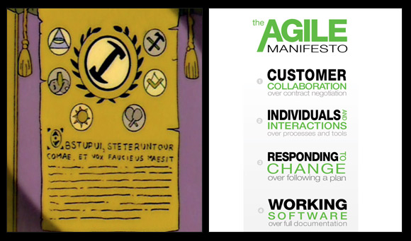 Agile is like a cult - you will have faith in the sacred document.