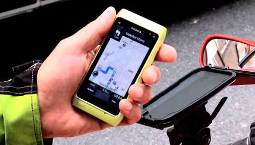 Turn by turn GPS guidance on Ovi Maps on a motorcycle
