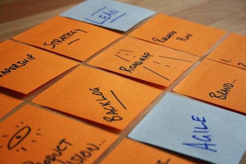The Complete Product Owner - photo of many post-it notes with product owner themes