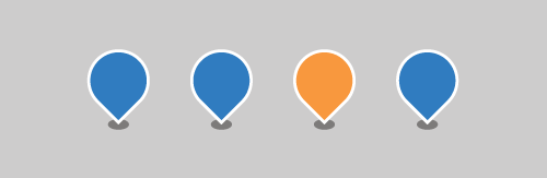 Consistency - a row of blue and orange map pins